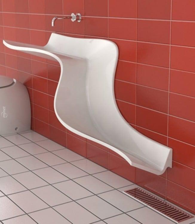 lavabo de baño blanco en forma de tobogán