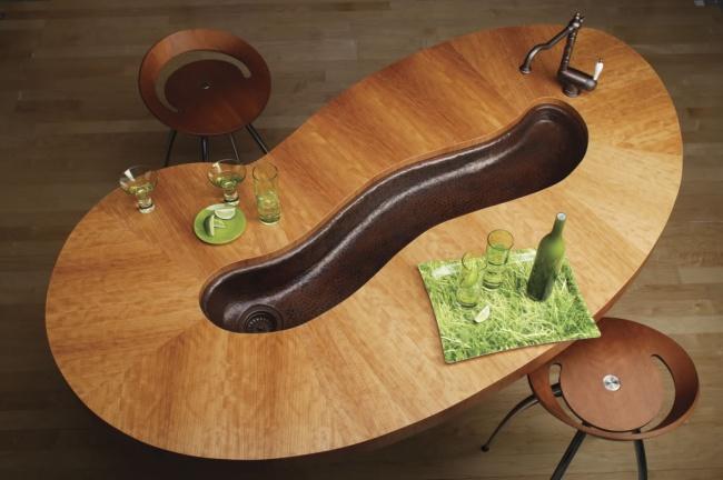 mesa 2 en 1 con lavabo de cocina integrado