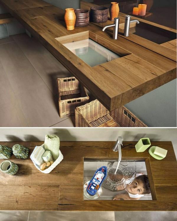 lavabo de baño hecho de madera con fondo de vidrio transparente