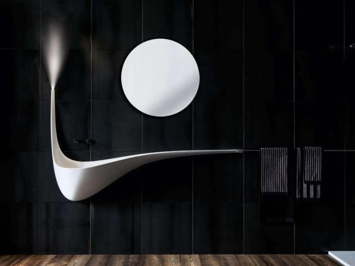 lavabo de baño elegante en forma de ala de ave