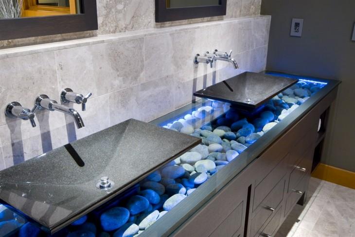 lavabos de baño modernos con base de mármol en color gris