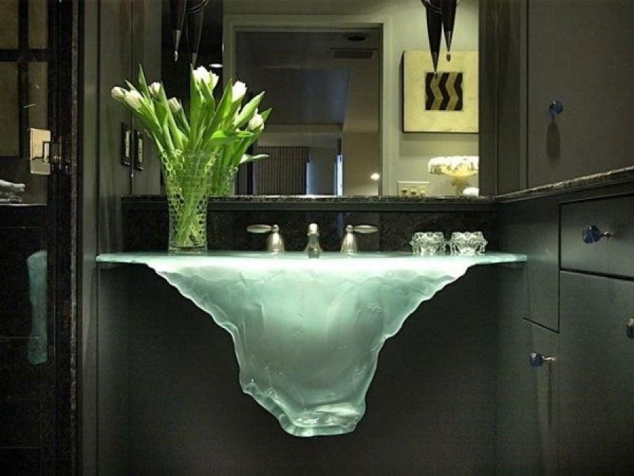 lavabo de cristal en forma de deshielo - Lavabos De Diseo
