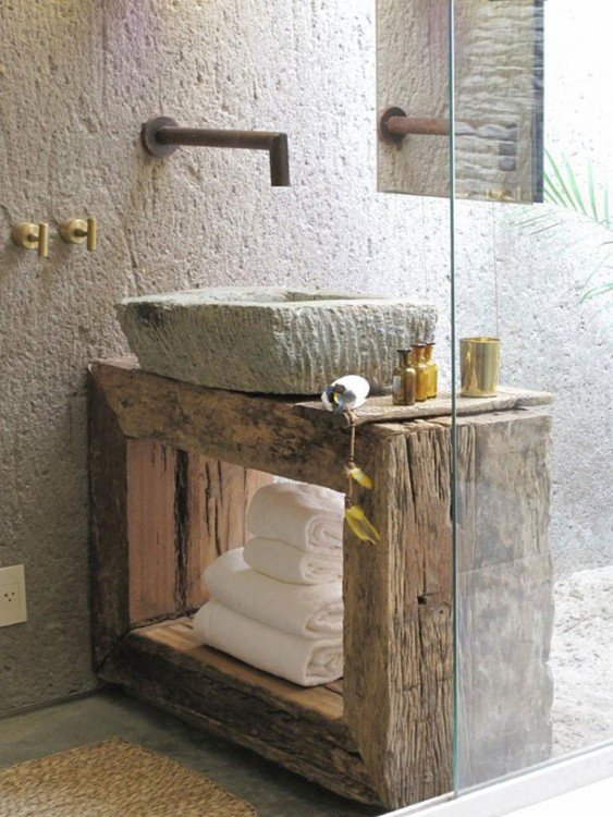 lavabo de baño rustico de madera y piedra
