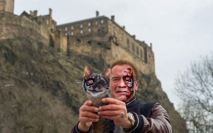 Photoshop de selfie de Arnold con un gato de ojo de terminator