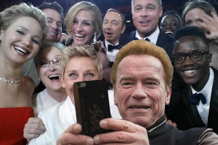 photoshop de Arnold con el fondo de celebridades en los premios Oscar