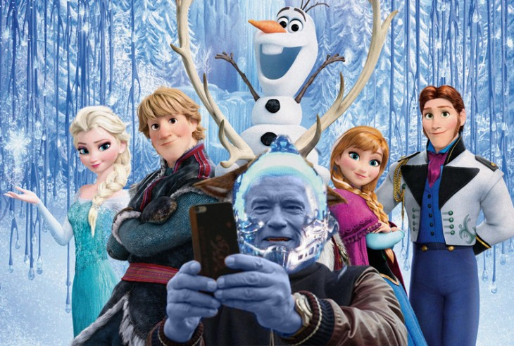 Photoshop de una selfie de Arnold con el fondo de los personajes de la película Frozen