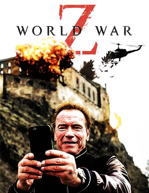 photoshop de la selfie de Arnold con el fondo de Guerra mundial Z