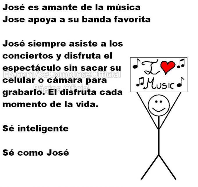 Meme 'Sé inteligente, sé como José' de personas que aman la música
