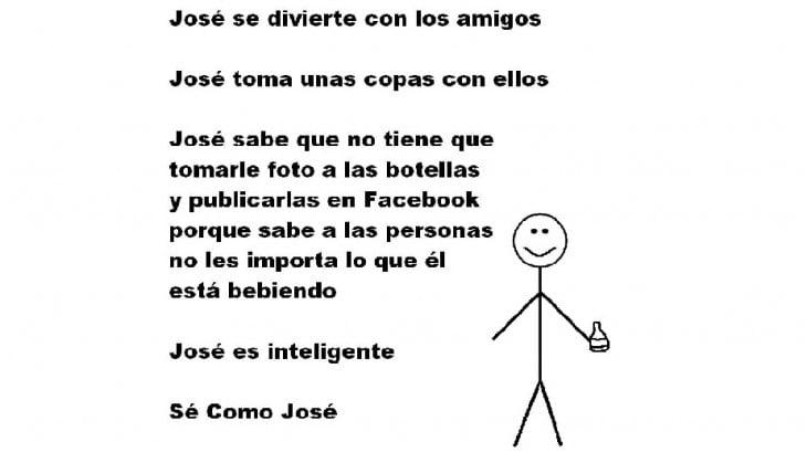 Meme 'Sé inteligente, sé como José' publicar fotos de botellas en facebook