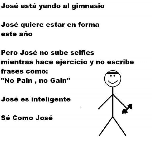 Meme 'Sé inteligente, sé como José' haciendo ejercicio