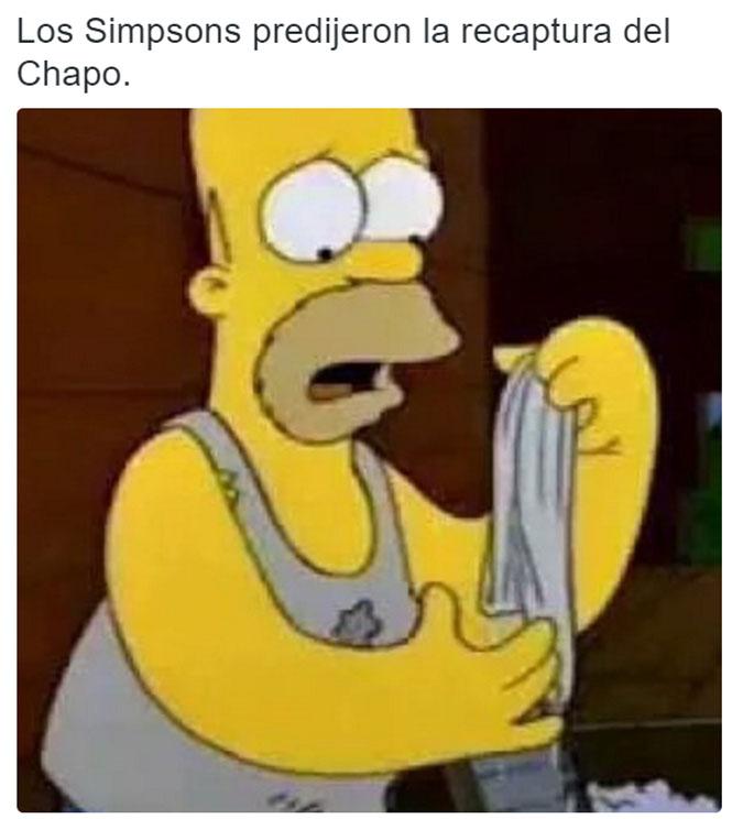 meme de homero simpson con un atuendo parecido al de el chapo guzmán en su recaptura