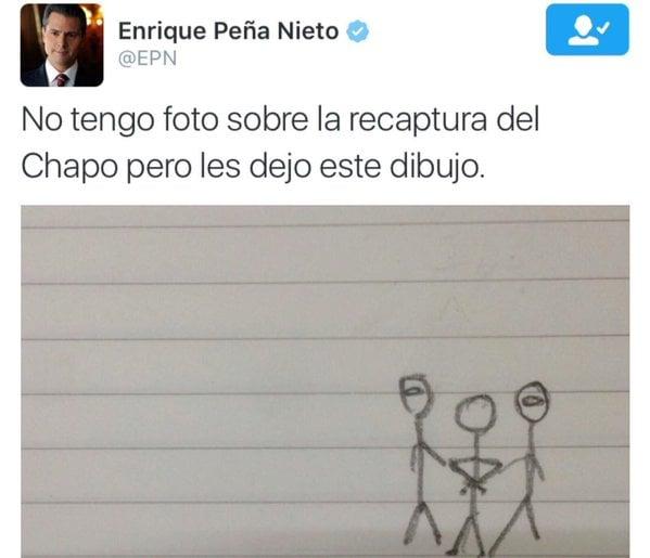 meme de un twitter de peña nieto con un dibujo de la recaptura de el chapo guzmán