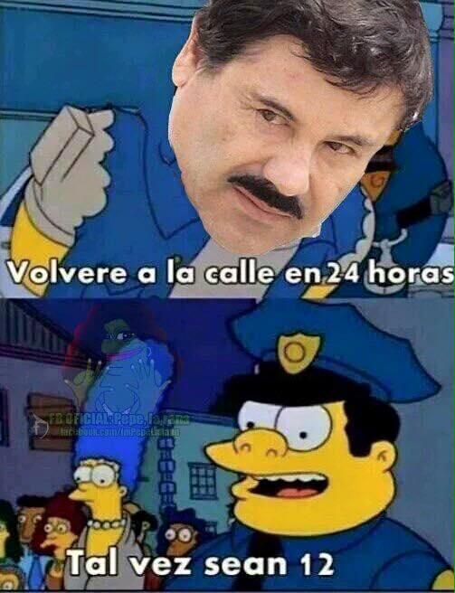 Meme de una escena de los simpson con la cara de El Chapo