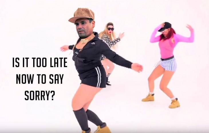 meme del chapo con cuerpo de mujer bailando la canción Sorry de Justin Bieber