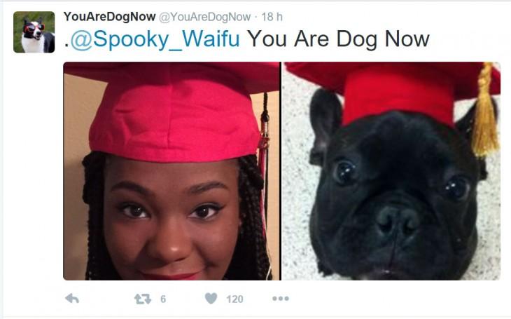 mujer de color con su perro francés recién graduado