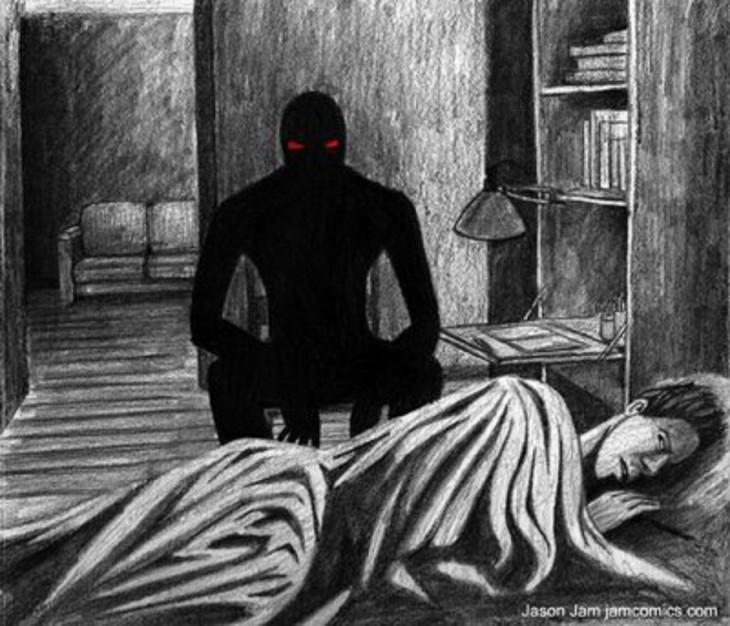 dibujo de una persona acostada en su cama mientras una sombra negra lo observa