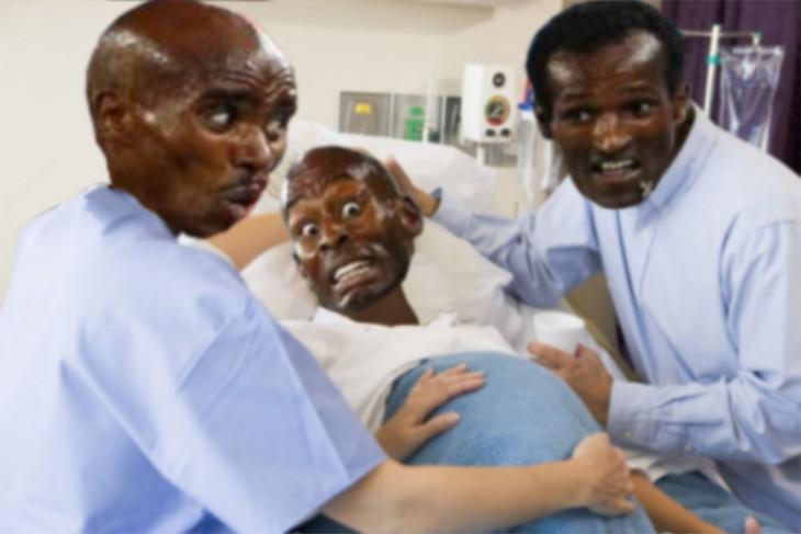 corredores esperando el parto de su amigo corredor