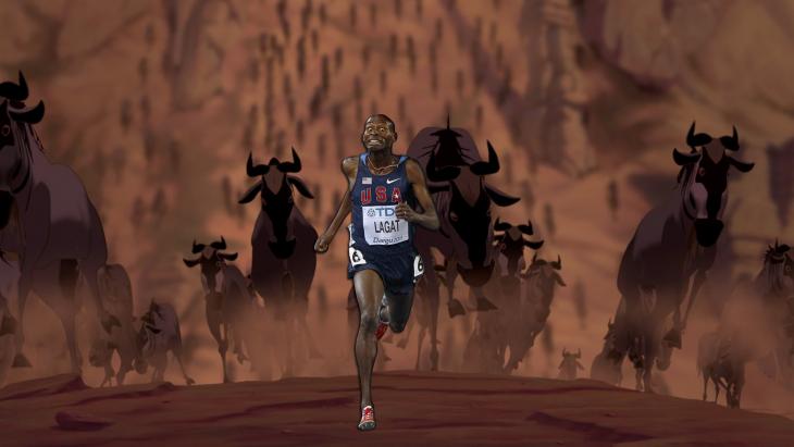 el norteamericano corriendo detras de una manada de bisontes