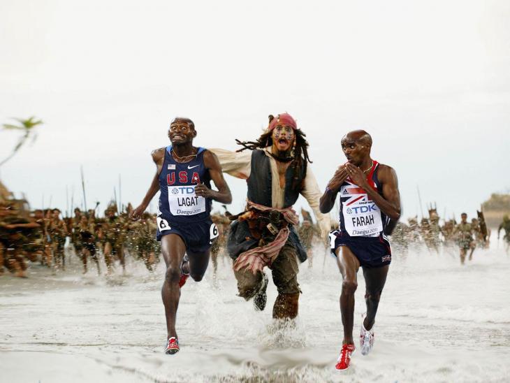corriendo con jack sparrow