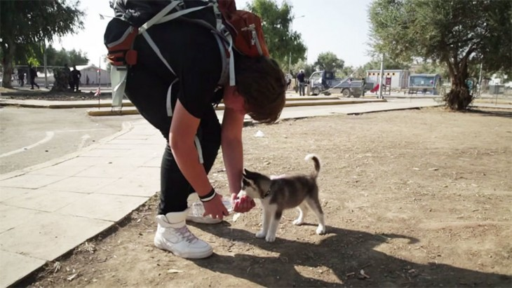 Chico Sirio de 17 años dando de tomar agua a su cachorrita husky