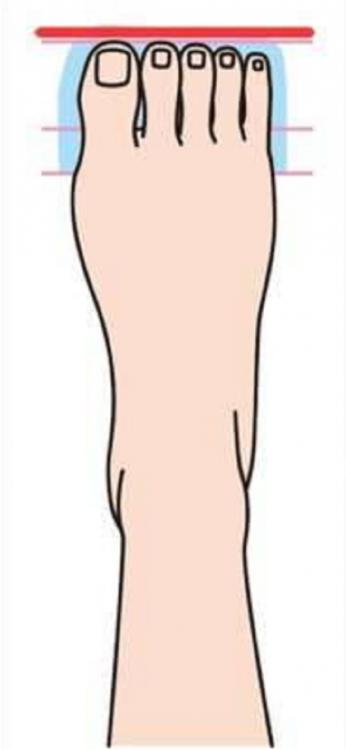 ilustración que muestra la forma de un pie cuadrado