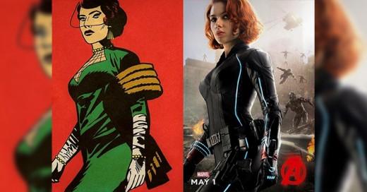 Avengers originales comparados con los posters de las peliculas