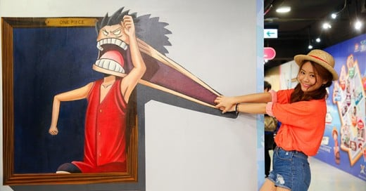 Exhibición de figuras de one piece en 3D en hong kong