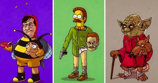 ilustraciones por Alex Solis en las que revela la verdadera identidad de algunos personajes de la cultura pop