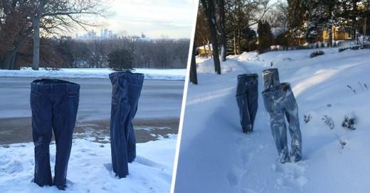 Pantalones congelados en Minnesota