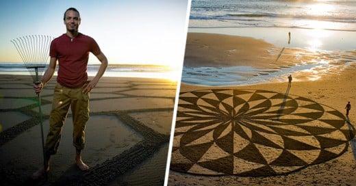 renuncio a su trabajo para hacer increíbles dibujos en la arena de la playa