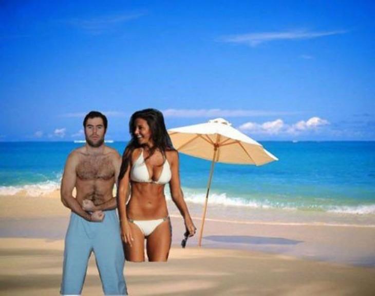 hombre en la playa con su sexy novia