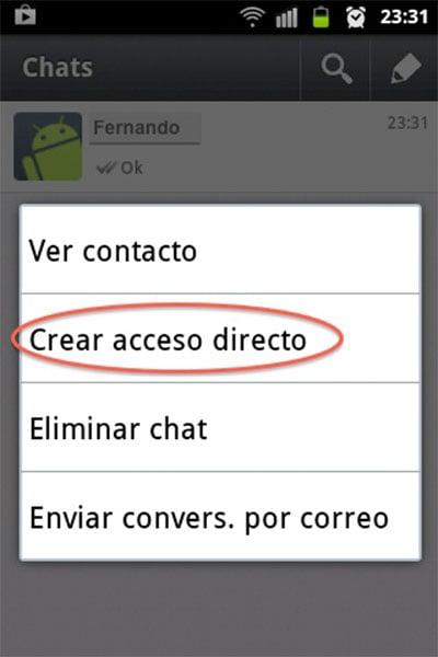 Cómo crear accesos directos en una conversación de Whatsapp