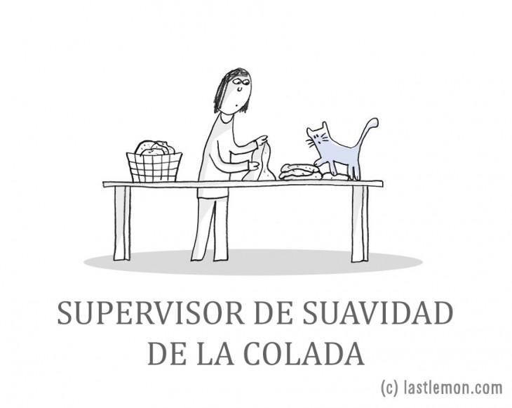 Ilustración que muestra a una persona doblando su ropa con un gato a un lado