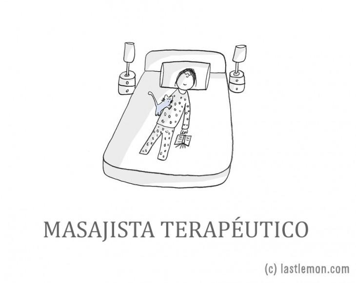 ilustración de una persona recibiendo un masaje por su gato