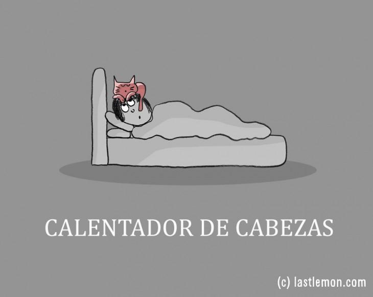 ilustración de una persona dormida con un gato sobre su cabeza