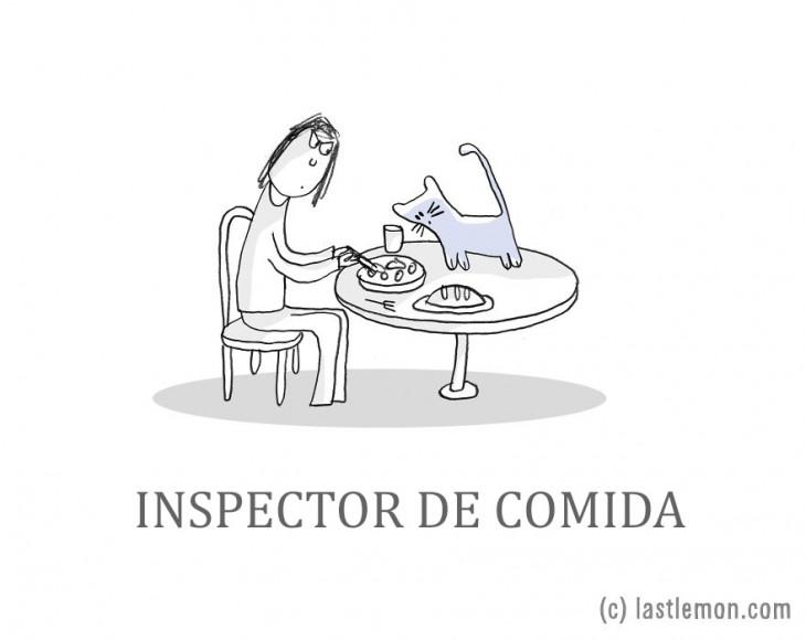 ilustración de una persona comiendo mientras su gato lo mira en la mesa