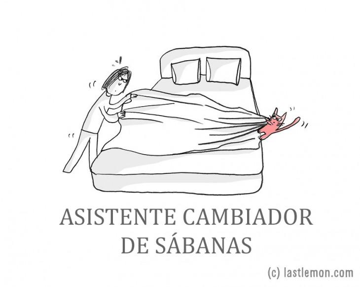 ilustración que muestra una persona tendiendo la cama con ayuda de su gato