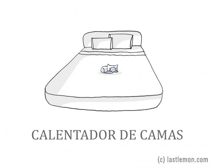 ilustración de un gato acostado sobre la cama de su dueño