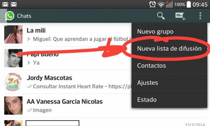 Cómo crear un mensaje de difusión en Whatsapp