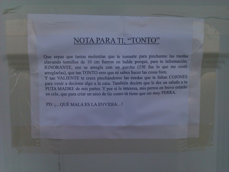 NOTA PARA TÍ, TONTO