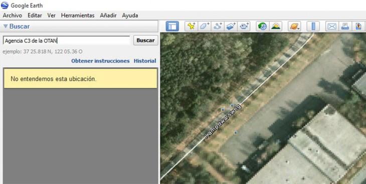 Agencia C3 de la OTAN aparece como no encontrada en el Google Earth