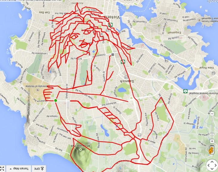 garabato en forma de sirena hecho con el recorrido en GPS de un ciclista