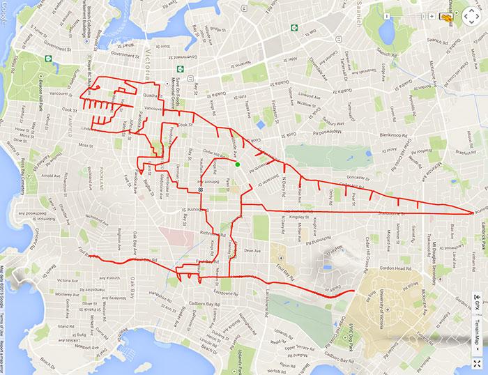 dibujo de T-Rex en un recorrido GPS