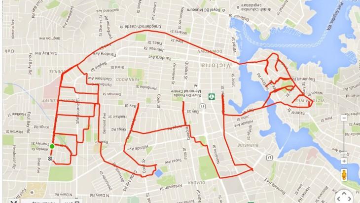 dibujo de mapache formado por el recorrido GPS de un ciclista canadiense