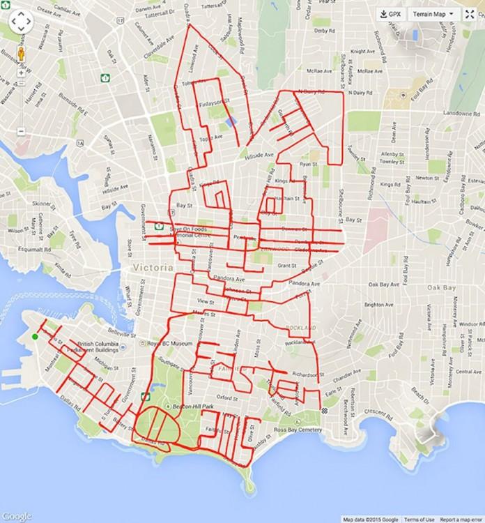 Recorrido en GPS formando un conejo de pascua