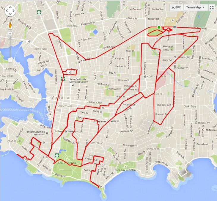 garabato en forma de orca formado por un recorrido en GPS