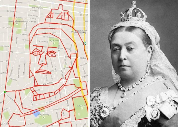 dibujo de la reina Victoria hecho por un recorrido gps en bicicleta