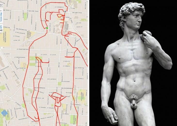 dibujo de la famosa estatua de David hecha con un recorrido gps en bicicleta