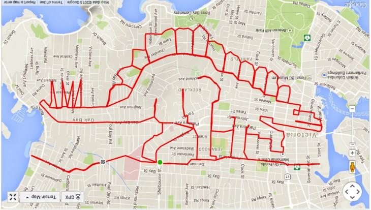 dibujo de dinosaurio formado con un recorrido en GPS de un ciclista Canadiense