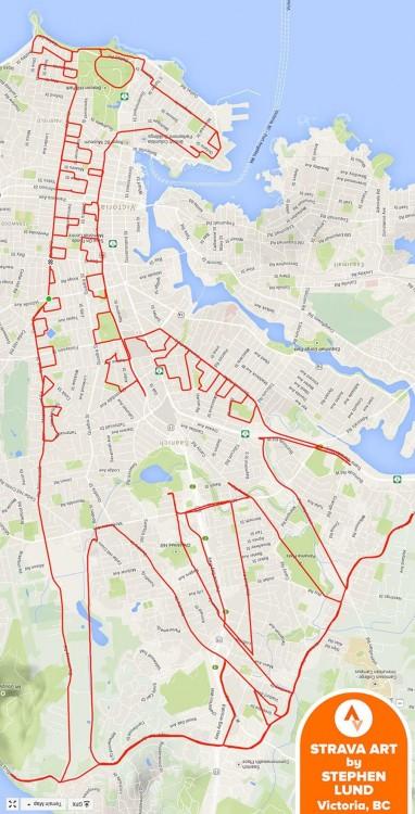 dibujo de una jirafa formado del recorrido GPS de un ciclista en Canadá